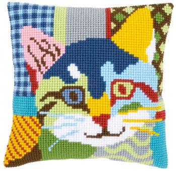Vervaco Kreuzstichkissen -  Katze, patchwork Stil