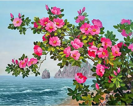 Diamond Embroidery/ Diamond Painting - Blossoming dog rose