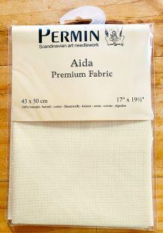 Super SALE  Permin Premium Spitzenqualität 16 ct (6,4/cm) Aidastoffabschnitt  43 x 50 cm Elfenbeinfarben