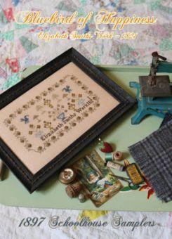1897 Schoolhouse Samplers - Bluebird Of Happiness - Elizabeth Smiths Work 1821