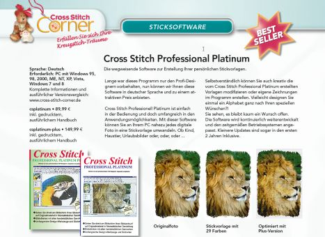 Sticksoftware - Cross Stitch Professional Platinum - Deutsch - Windows - Perfekt für alle Geräte auf USB Stick.
