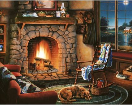 Diamond Embroidery/ Diamond Painting - By the fireside