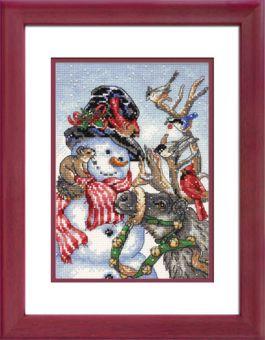 Dimensions Gold Petites - Snowman & Reindeer - inkl. Rahmen rot