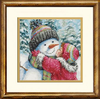 Dimensions Gold Petites - A Kiss For Snowman - frame gold