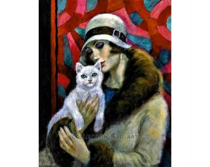 Diamond Embroidery/ Diamond Painting - Lady with a cat