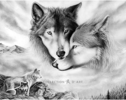 Diamond Embroidery/ Diamond Painting -  Wolfish love