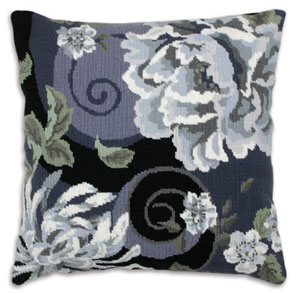 Anchor Kreuzstichkissen - Floral Swirl In Black