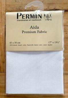 Super SALE  Permin Premium Spitzenqualität 14ct (5,4/cm) Aidastoffabschnitt  43 x 50 cm weiss