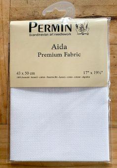 Super SALE  Permin Premium Spitzenqualität 16 ct (6,4/cm) Aidastoffabschnitt  43 x 50 cm weiss
