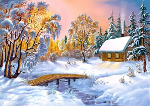 Diamond Painting Artibalta -  HOUSE IN THE WINTER FOREST