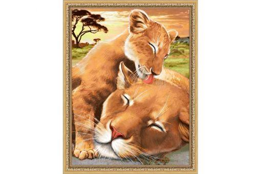 Diamond Painting Artibalta - BABY LION WITH MOTHER
