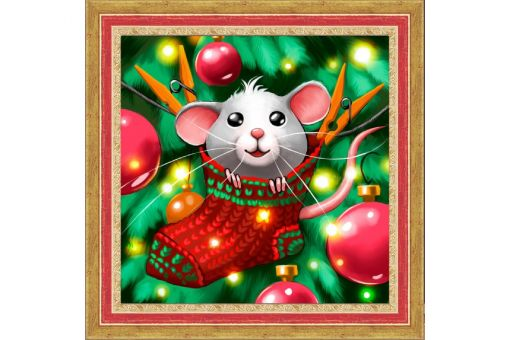Diamond Painting Artibalta - MOUSE AND CHRISTMAS STOCKING