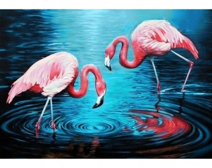 Diamond Embroidery/ Diamond Painting - Flamingos on the lake