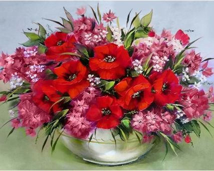 Diamond Embroidery/ Diamond Painting - Poppy bouquet on the table