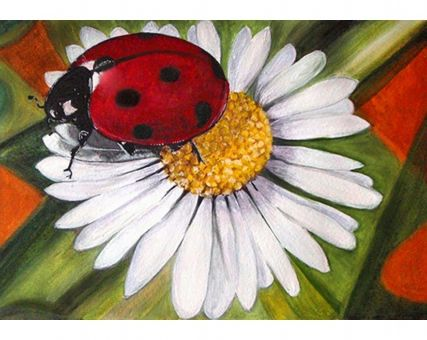 Diamond Embroidery/ Diamond Painting - Chamomile and ladybug