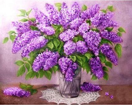 Diamond Embroidery/ Diamond Painting - Lilac bouquet