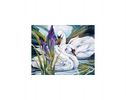 Diamond Embroidery/ Diamond Painting - Swans and iris