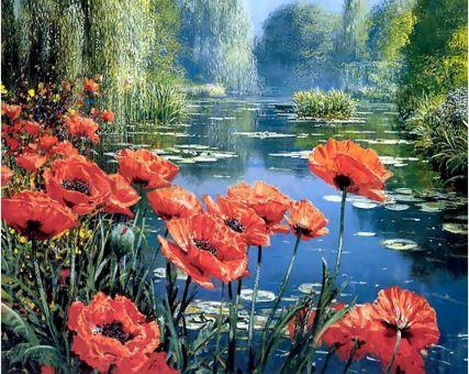 Diamond Embroidery/ Diamond Painting - Poppies by the lake