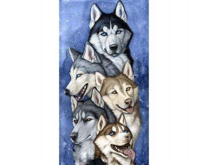 Diamond Embroidery/ Diamond Painting - Team of huskies