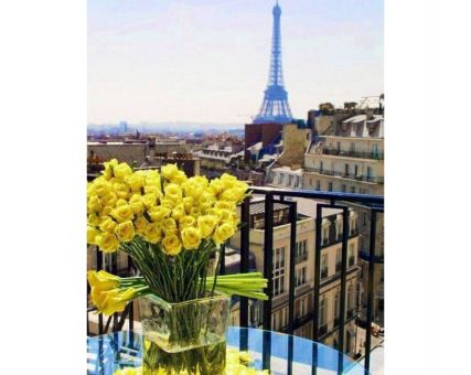 Diamond Embroidery/ Diamond Painting - Paris. Yellow roses