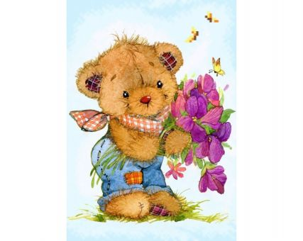 Diamond Embroidery/ Diamond Painting - Teddy bear with a bunch