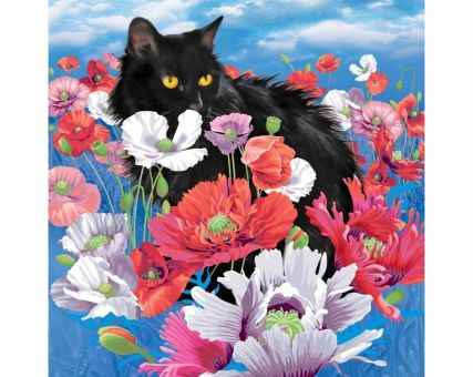 Diamond Embroidery/ Diamond Painting - Cat among poppies