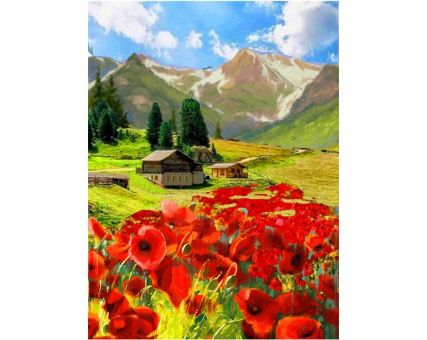 Diamond Embroidery/ Diamond Painting - Cottage in the mountains