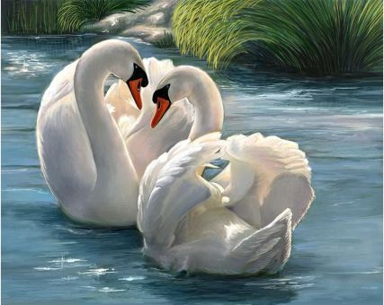 Diamond Embroidery/ Diamond Painting - Loving swan couple