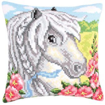 Collection D'Art Kreuzstichkissen - White Horse