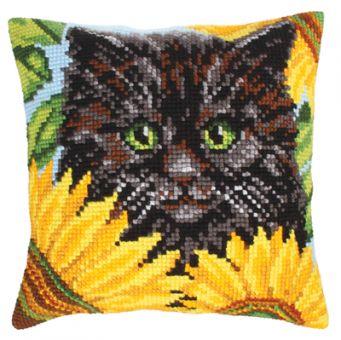 Collection D'Art Kreuzstichkissen - Black Cat and Sunflowers