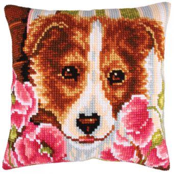 Collection D'Art Kreuzstichkissen - Dog and pink Poppies