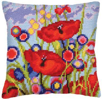 Collection D'Art Kreuzstichkissen - Red Poppies