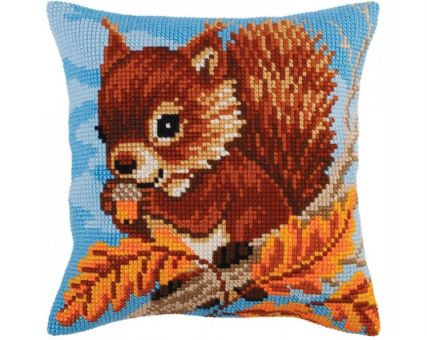 Collection D'Art Kreuzstichkissen - Squirrel with a nut