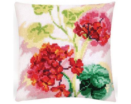 Collection D'Art Kreuzstichkissen - Red geranium