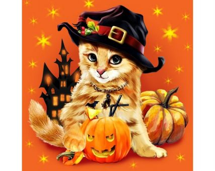 Diamond Embroidery/ Diamond Painting - Halloween kitty