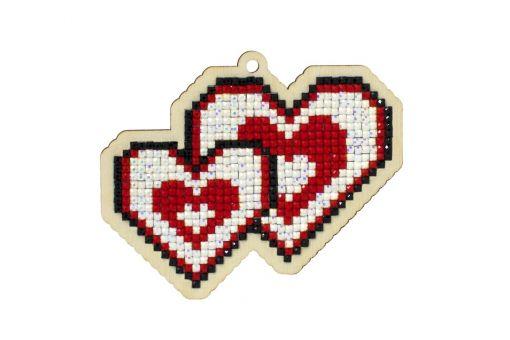 Diamond Painting Wizardi Wood Charms - LOVING HEARTS