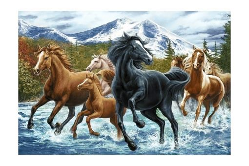 Diamond Painting Wizardi - HORSE HERD IN THE MOUNTAINS