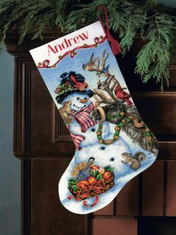 Dimensions Gold Collection - Snowman Gathering Stocking