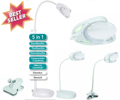 5-in-1 LED Lamp & Magnifier
