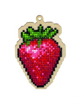 Diamond Painting Wizardi Wood Charms - STRAWBERRY