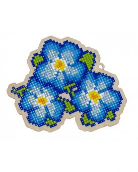 Diamond Painting Wizardi Wood Charms - BLUE PANSIES