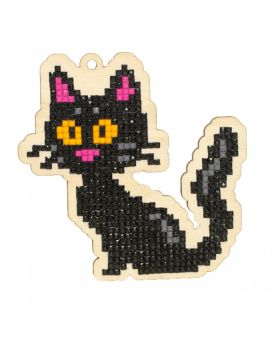 Diamond Painting Wizardi Wood Charms - BLACK CAT