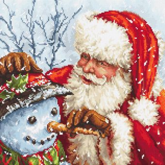 Letistitch by Luca-S - CROSS STITCH KIT KIT - SANTA CLAUS AND SNOWMAN