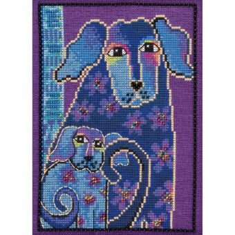 Mill Hill - Laurel Burch Dogs! Bloomingtails On Linen