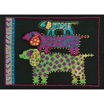 Mill Hill - Laurel Burch Dogs! Dog Pyramid On Linen
