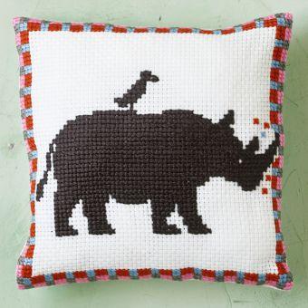 Permin Of Copenhagen - Easy Stitch - Kissen Nashorn