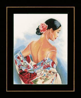 Lanarte - Schal mit Blumenmotiven 14ct Aida