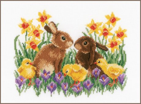 Vervaco - COUNTED CROSS STITCH KIT BUNNIES WITH CHICKS