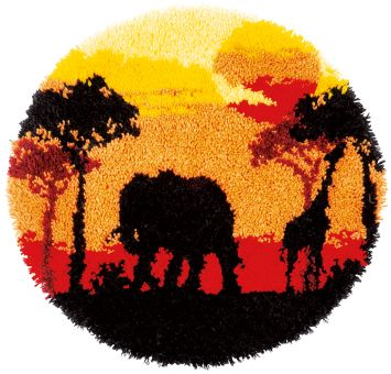 Vervaco - LATCH HOOK SHAPED RUG KIT AFRICAN SUNSET