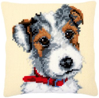 Vervaco - CROSS STITCH CUSHION KIT DOG WITH RED COLLAR